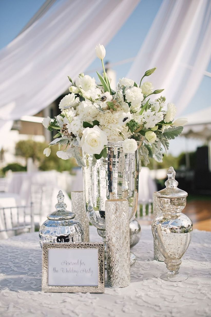 white mercury glass centerpieces