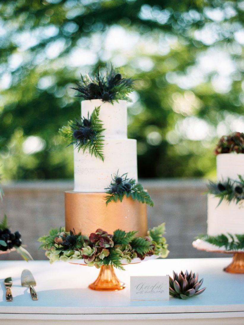 cake gold greenery