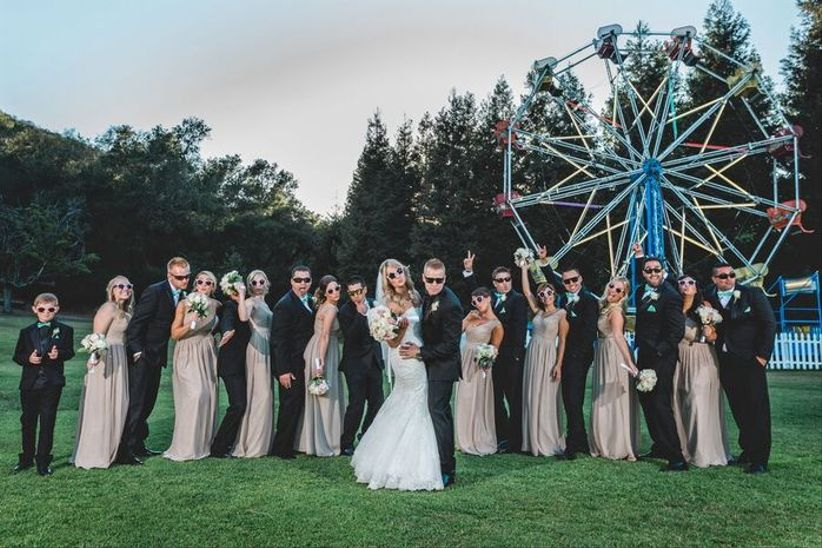wedding party pose in sunglasses