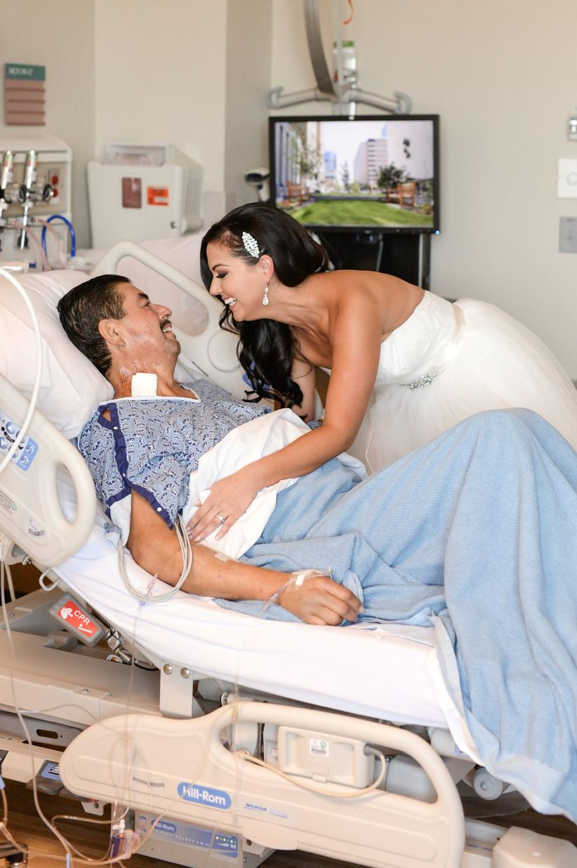 bride visits dad in hospital on wedding day