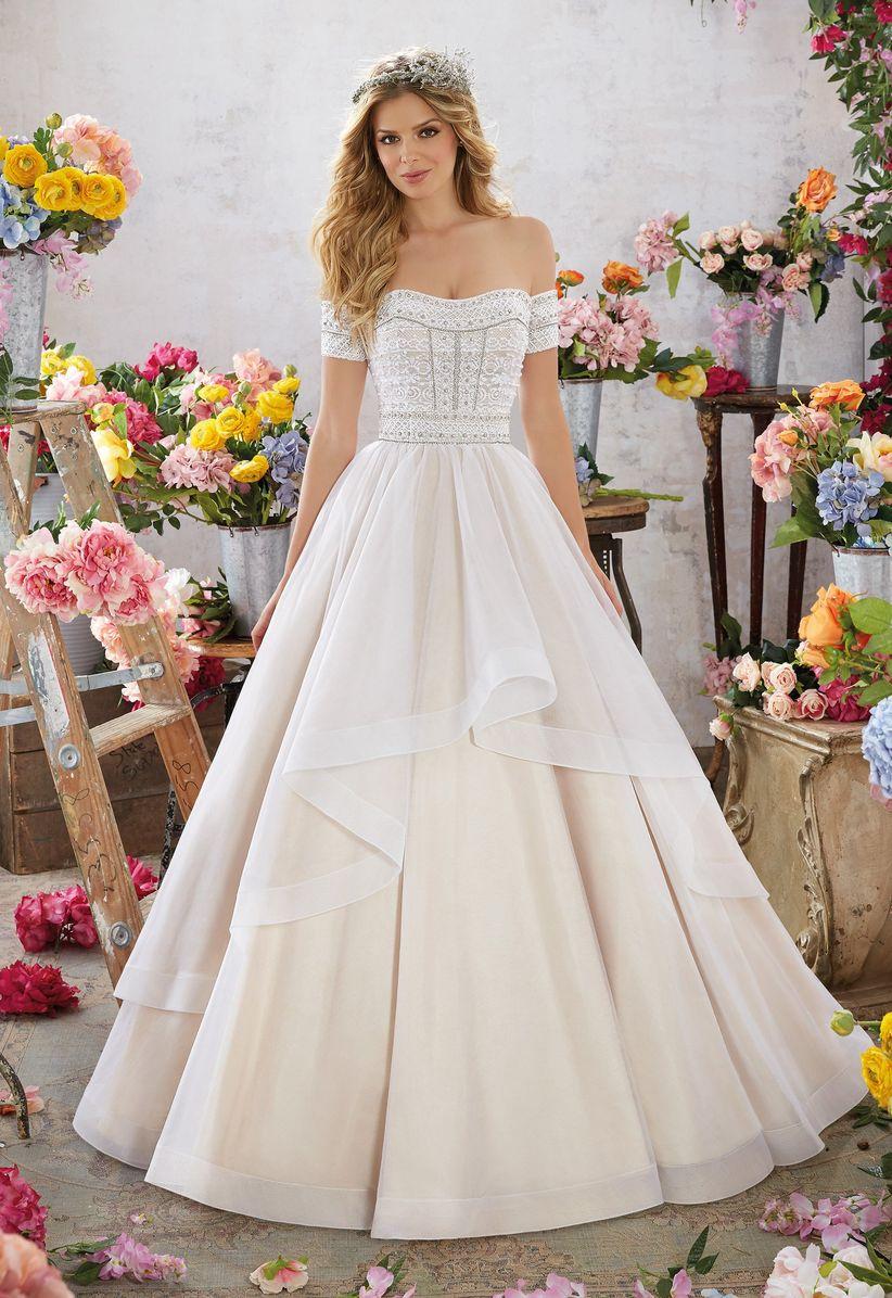 off the shoulder morilee wedding dress