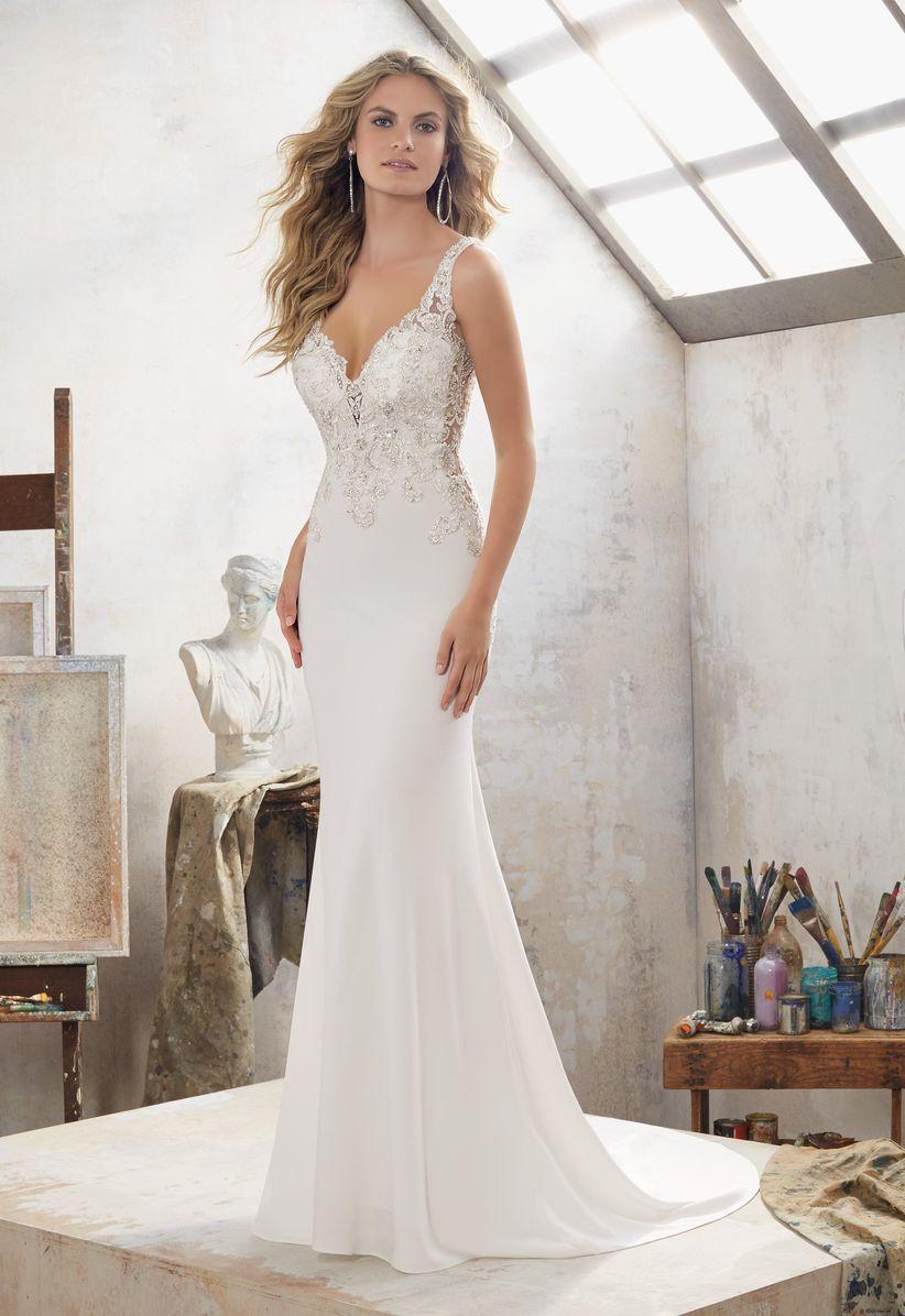 v-neck wedding dress morilee