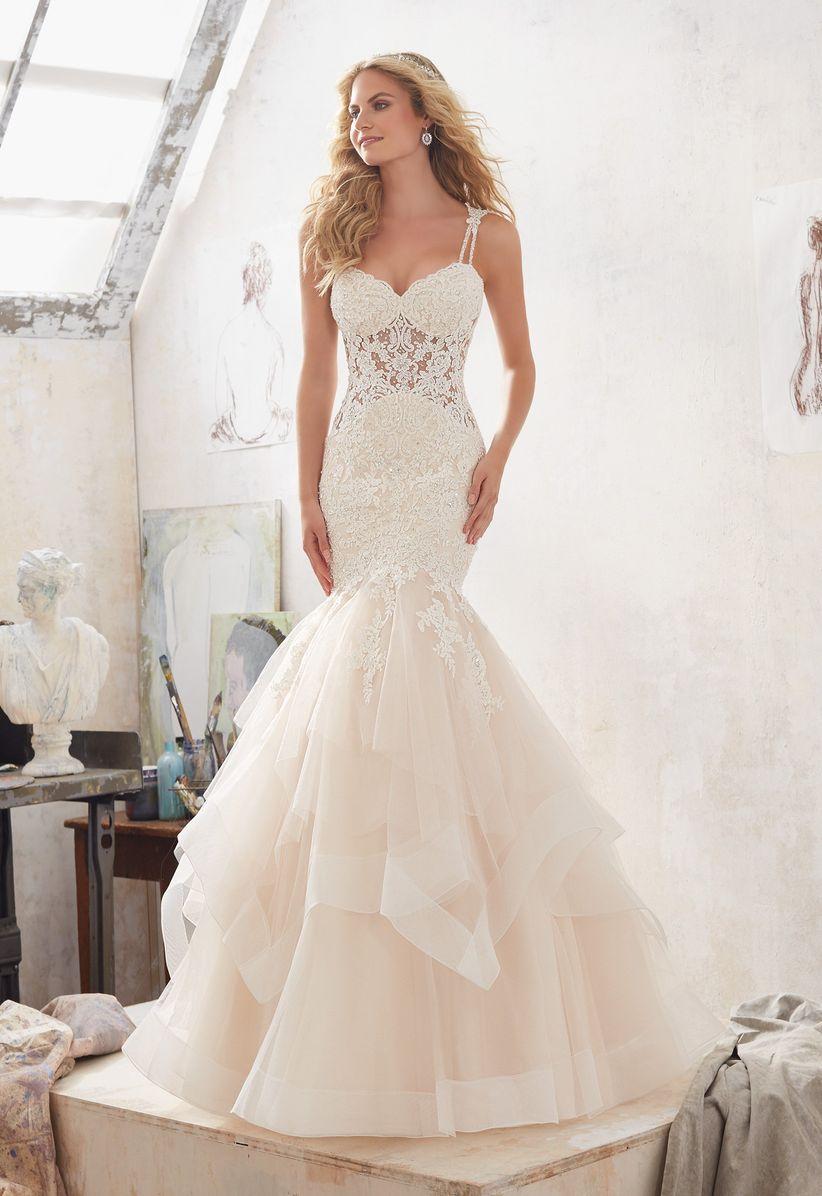 sheer lace bodice wedding dress morilee