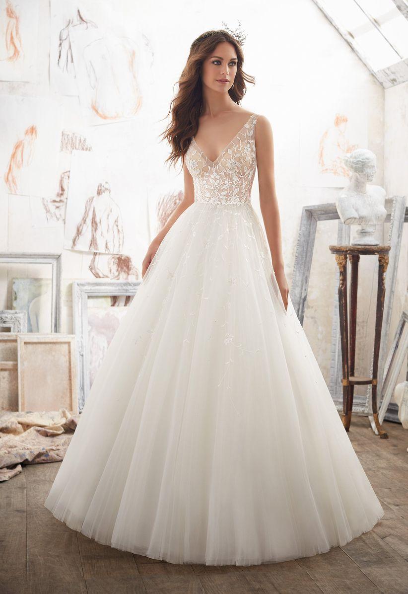 beaded v-neck wedding dress morilee