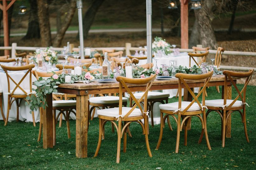 Outdoor tablescape with greenery