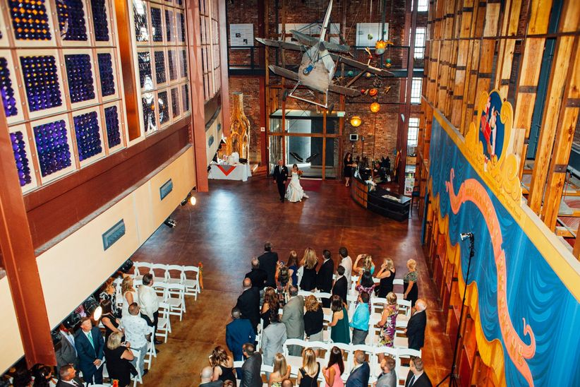 wedding ceremony inside a museum