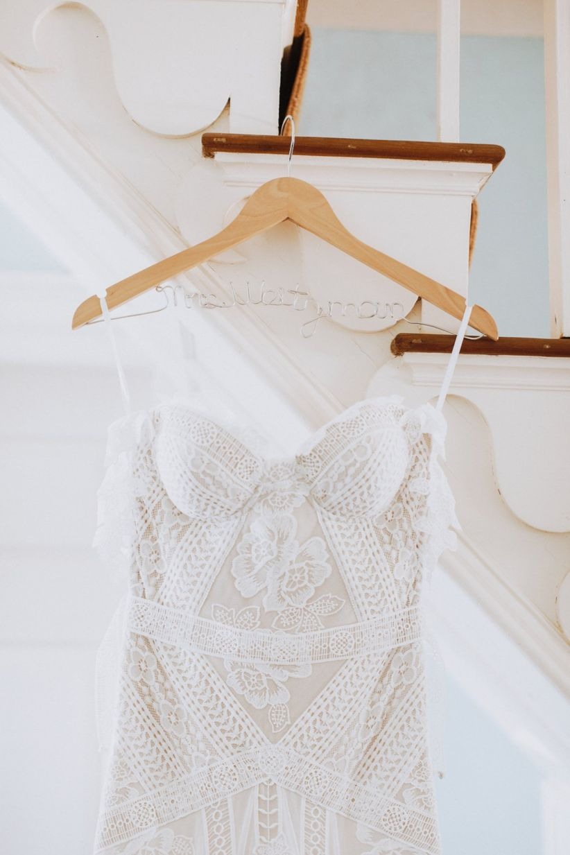 boho off-the-shoulder wedding dress
