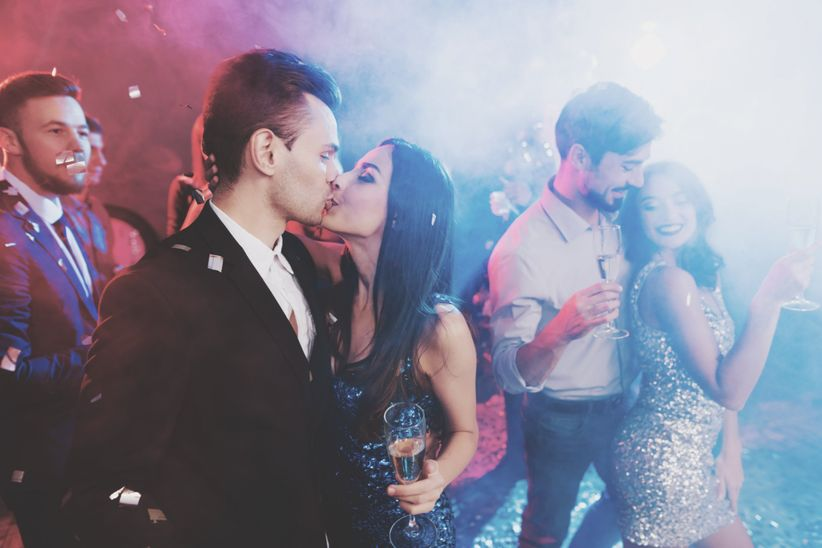 couple at new years party