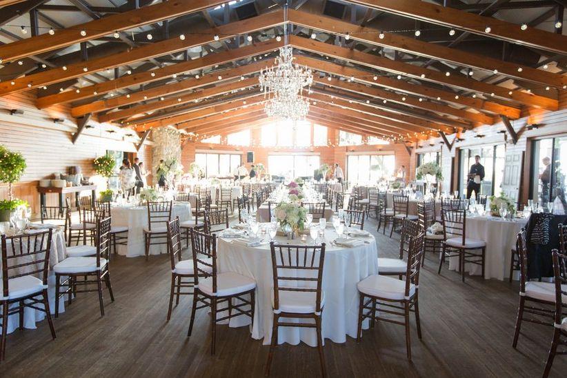 indoor reception with chandeliers