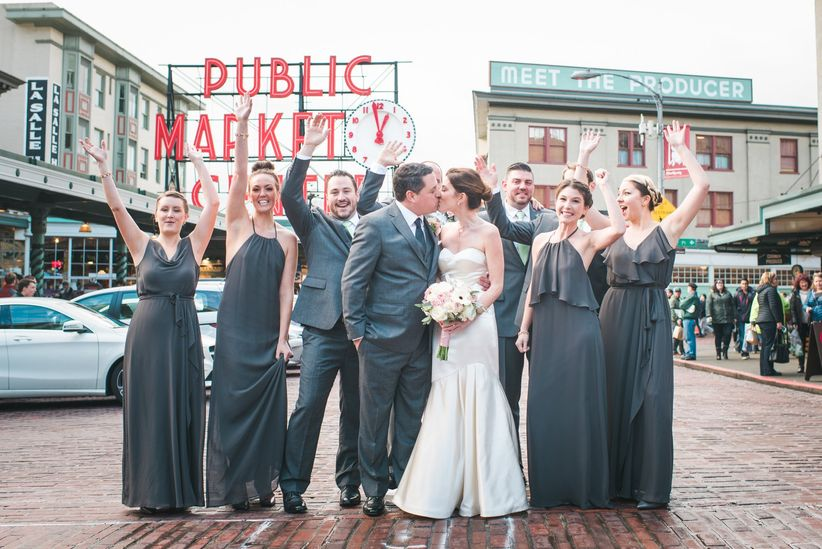 Wedding photos at Pike Place Market