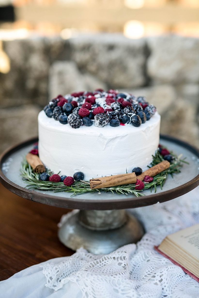 winter wedding cake with fresh berries