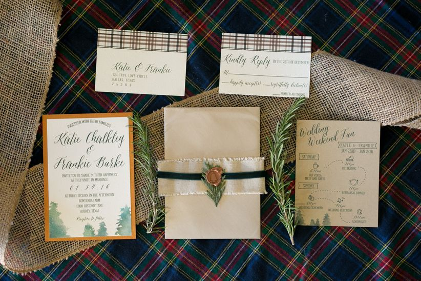 rustic winter invitation suite