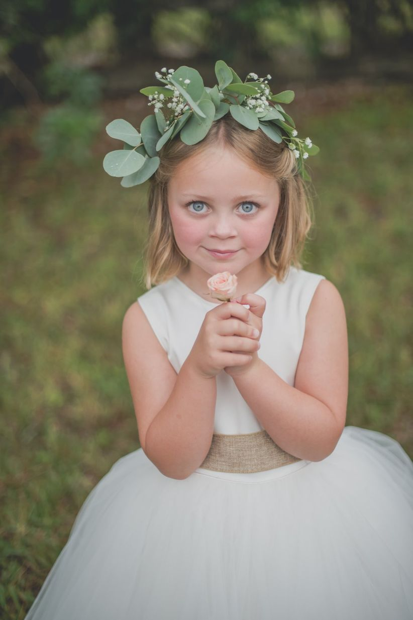 flower girl with greenery crown