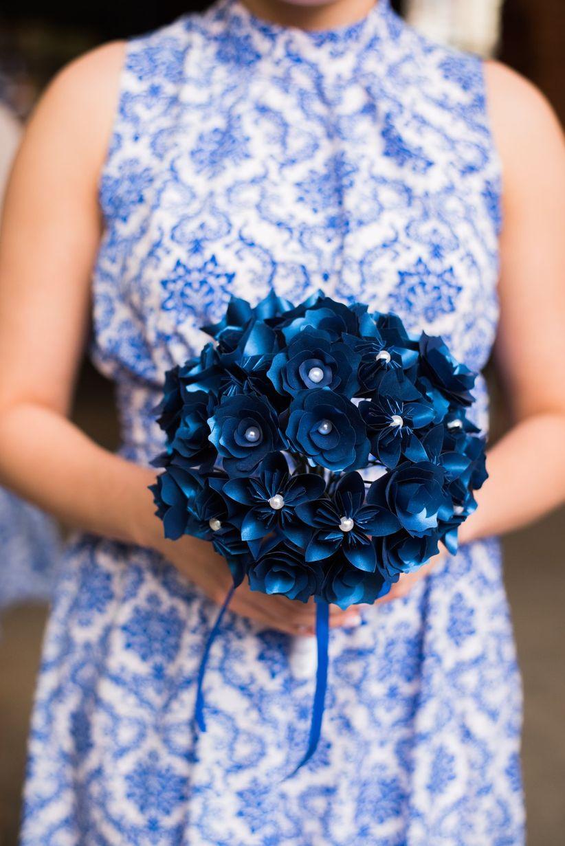 blue paper bouquet