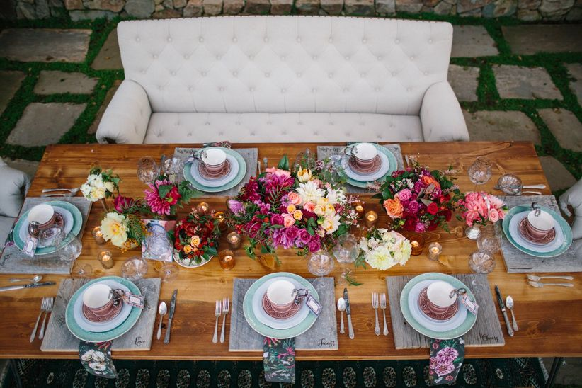 Eagle eye view of outdoor tablescape