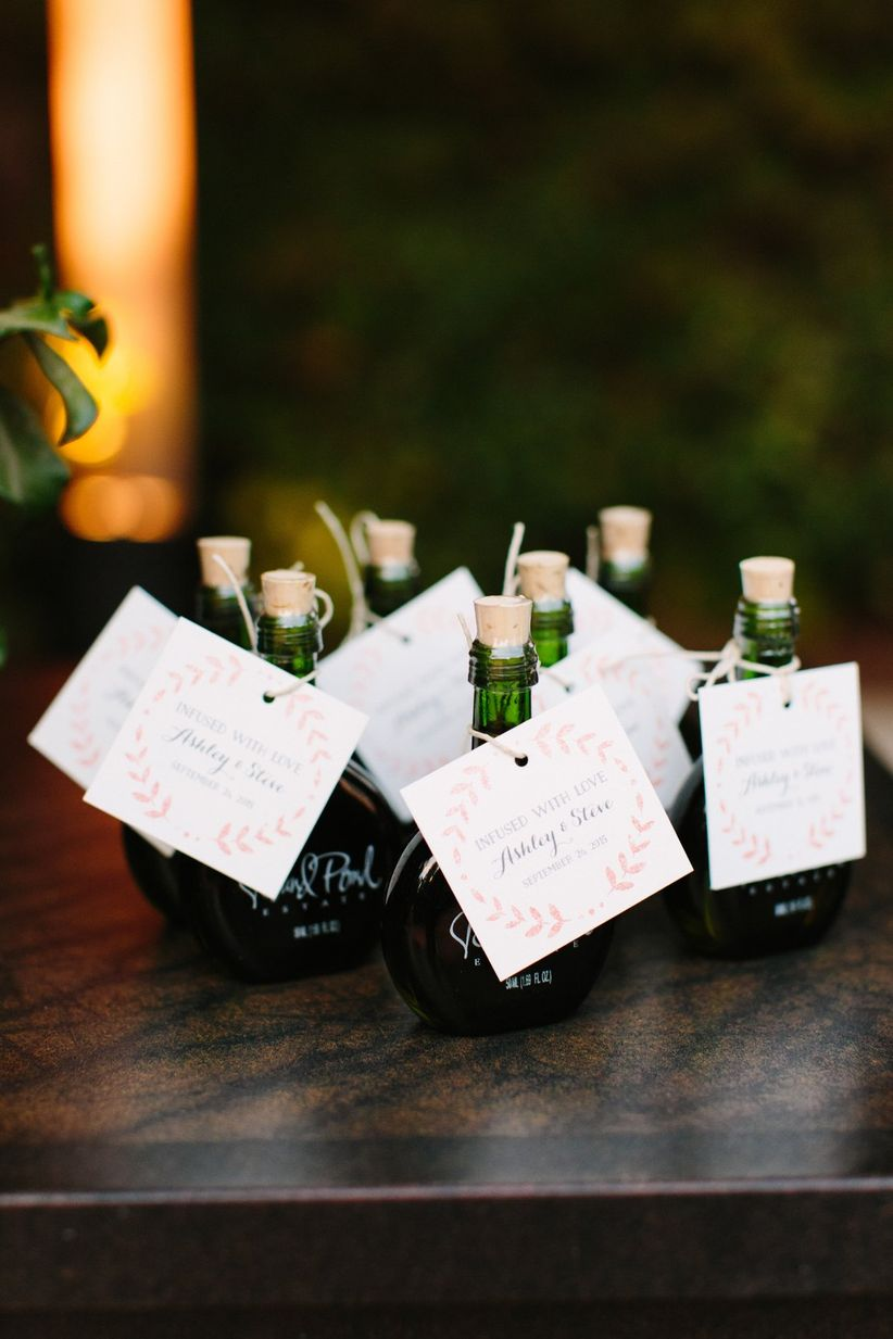 elegant wedding favor ideas - infused olive oil