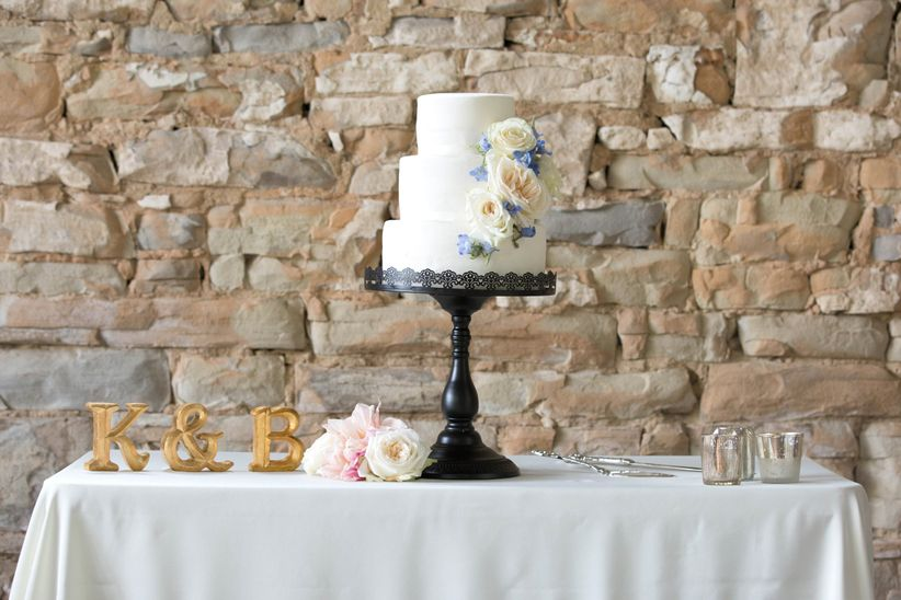 White simple three tier wedding cake