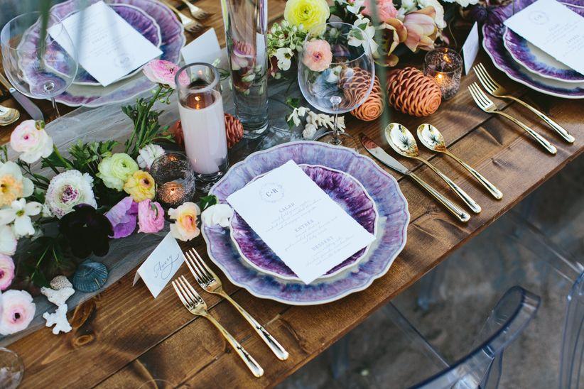 wedding place setting with purple china