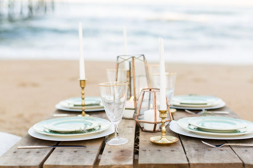 reception table at the beach