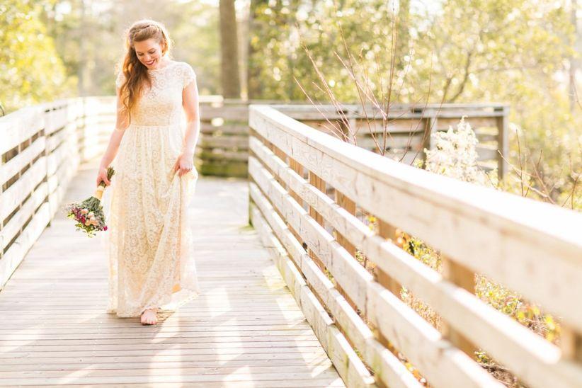 bride in sheath dress
