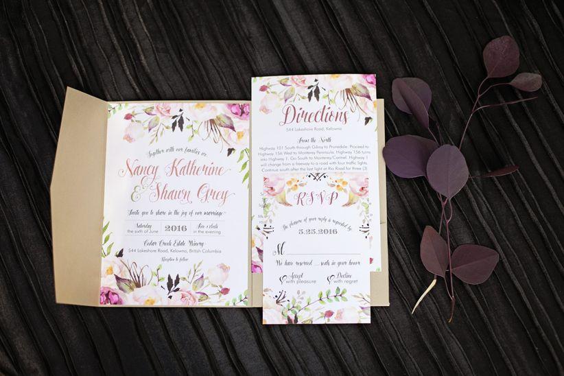 fall watercolor wedding invitations