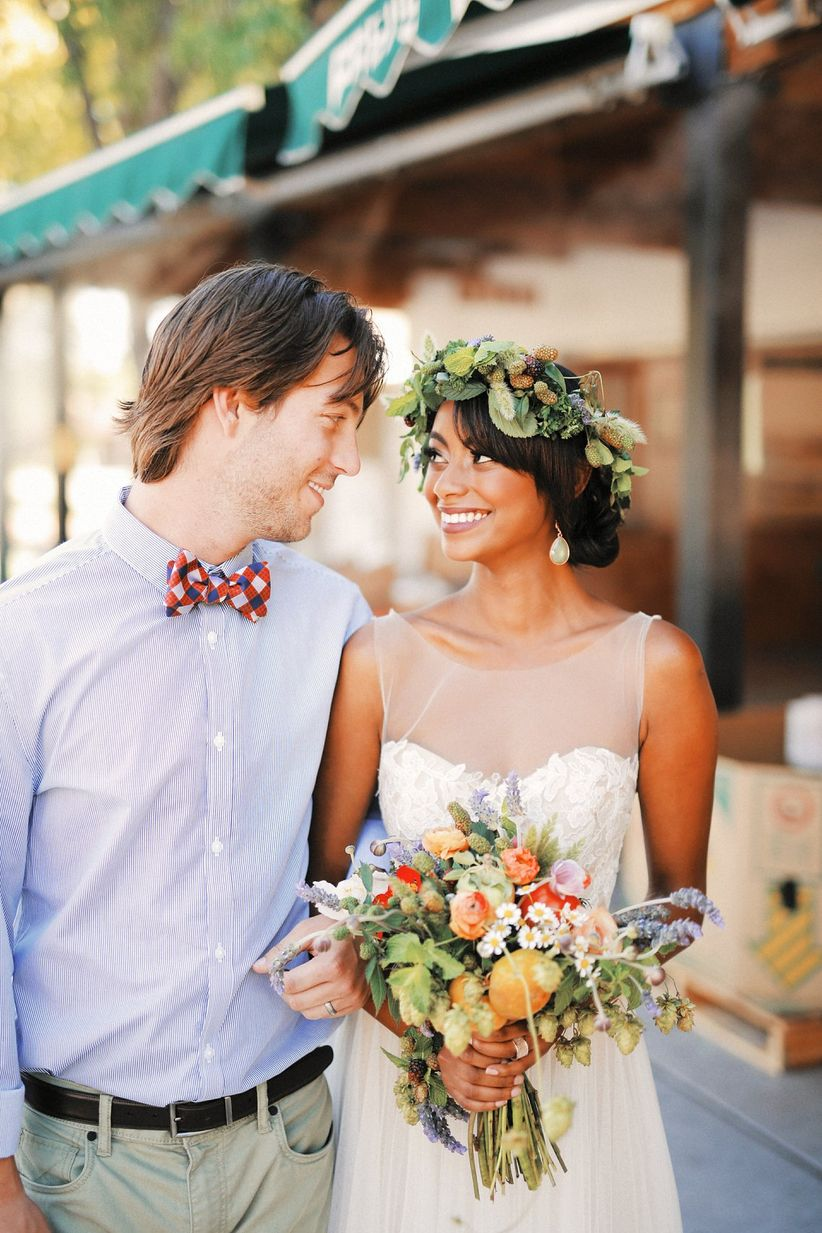 bride and groom farm-to-table wedding style