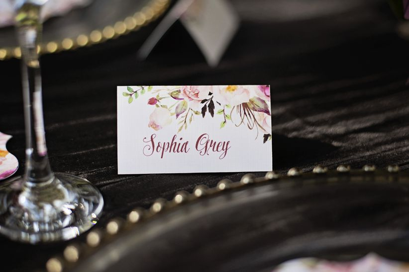 watercolor and calligraphy place card