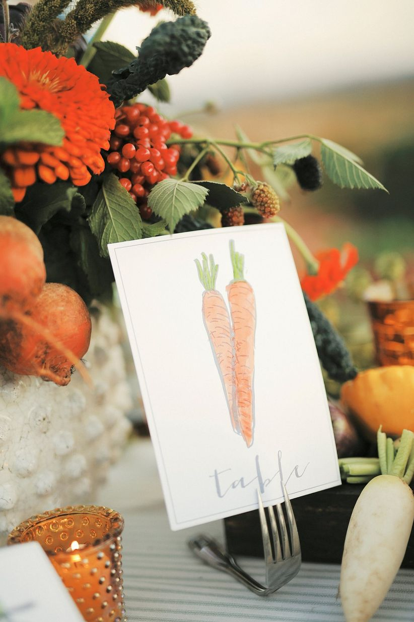 vegetable-themed table numbers