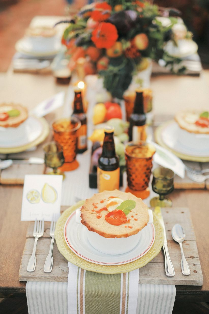 farm-to-table place setting with homemade pot pie