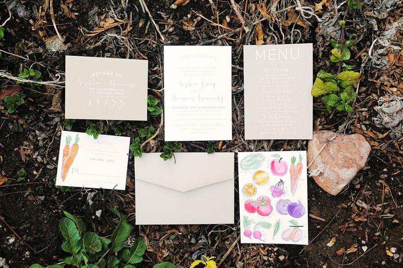 vegetable-themed wedding invitation suite