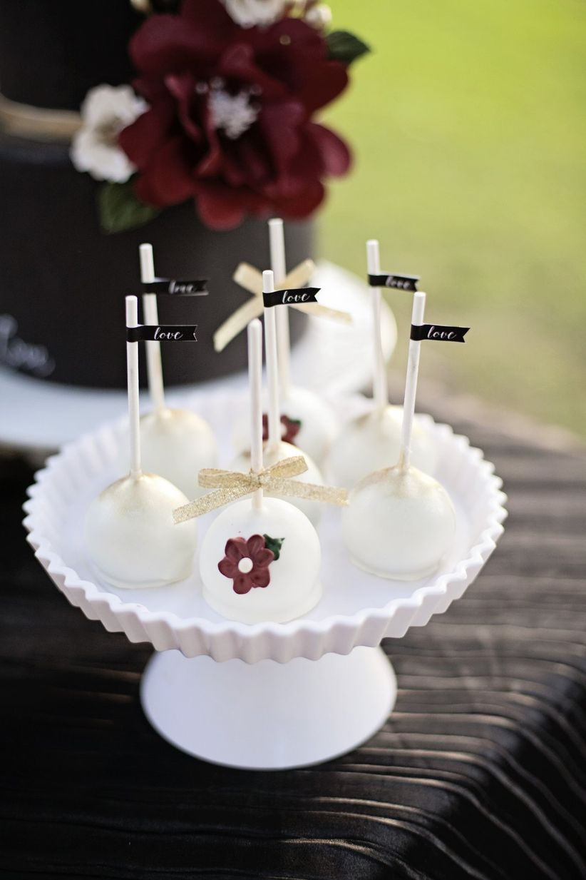 white and gold wedding cake pops