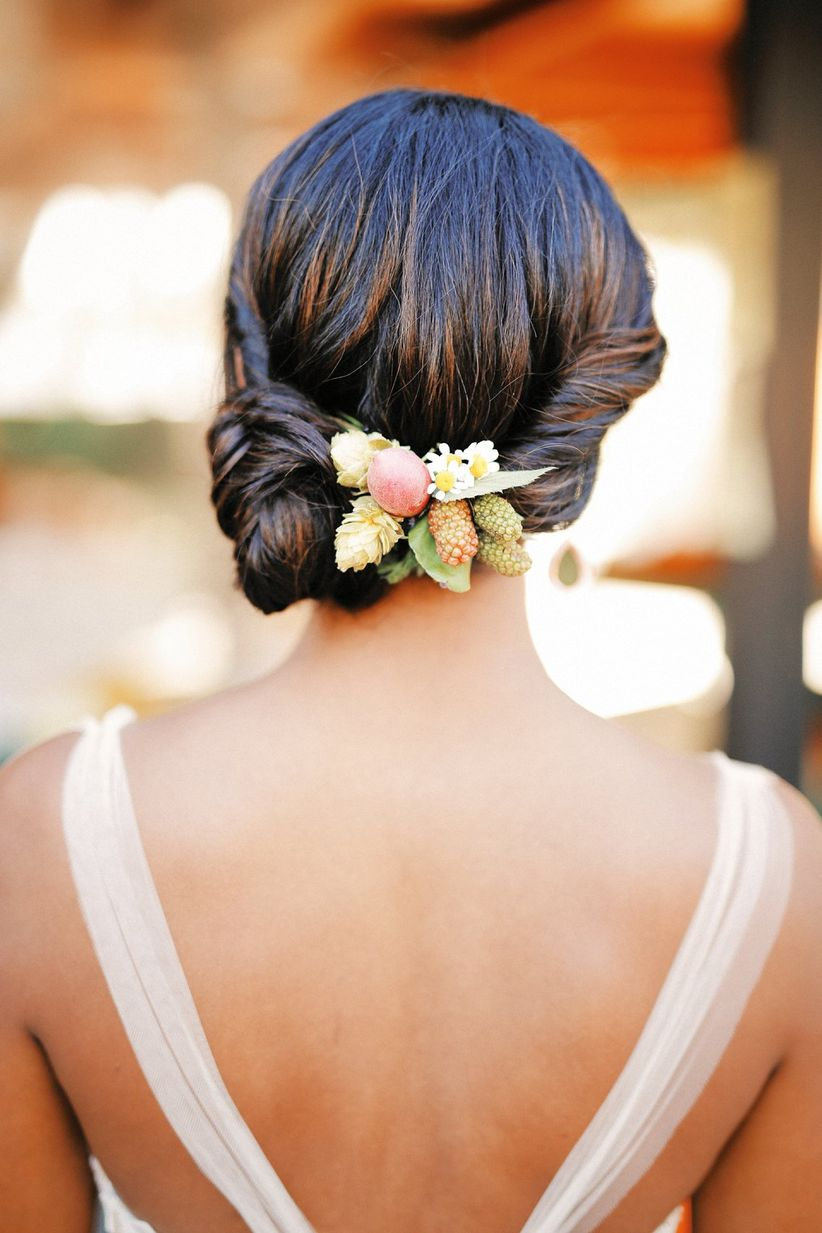 bridal chignon with greenery