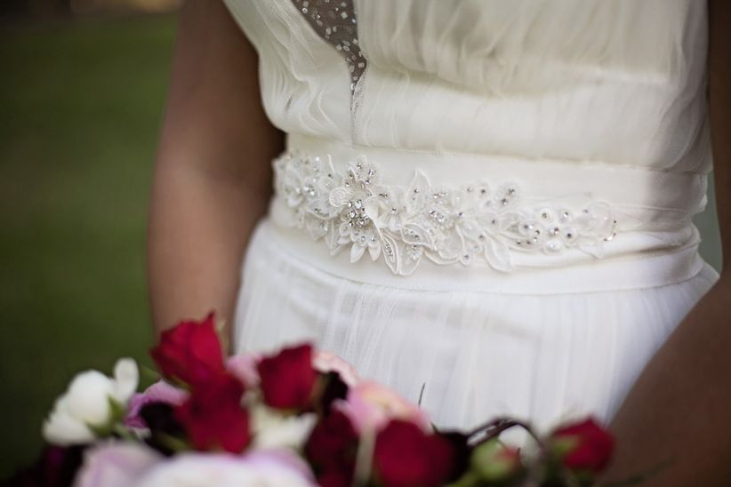 wedding dress with beaded wasitline