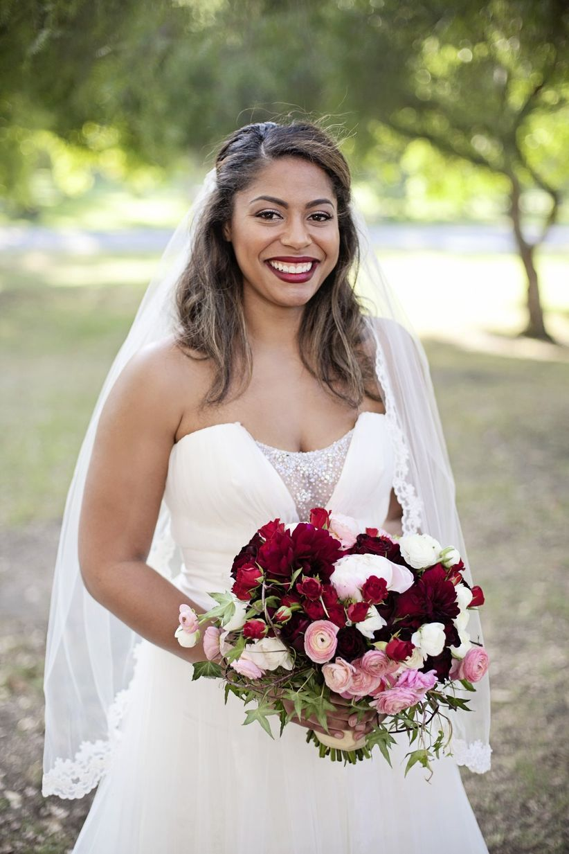 bride with half-up hairstyle