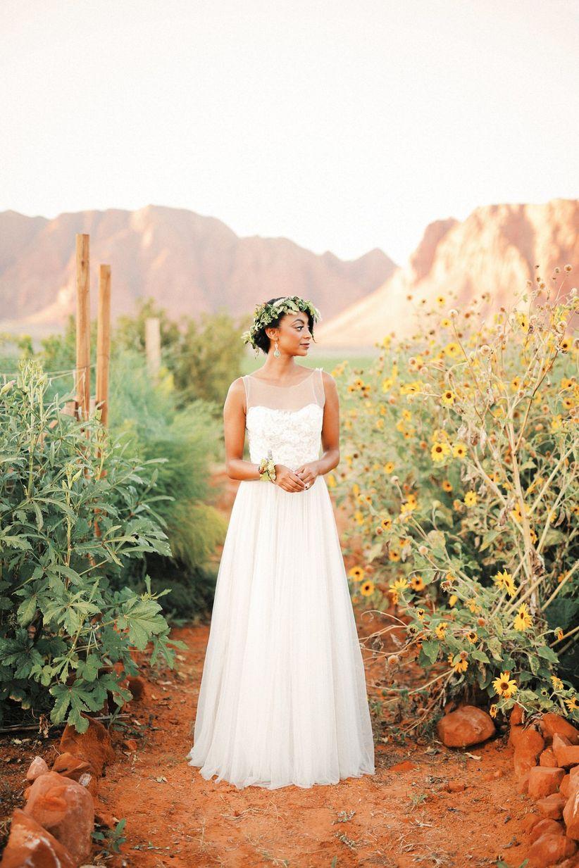 bride wearing tulle a-line wedding dress