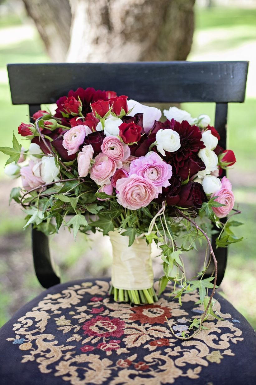 pink and red fall bouquet