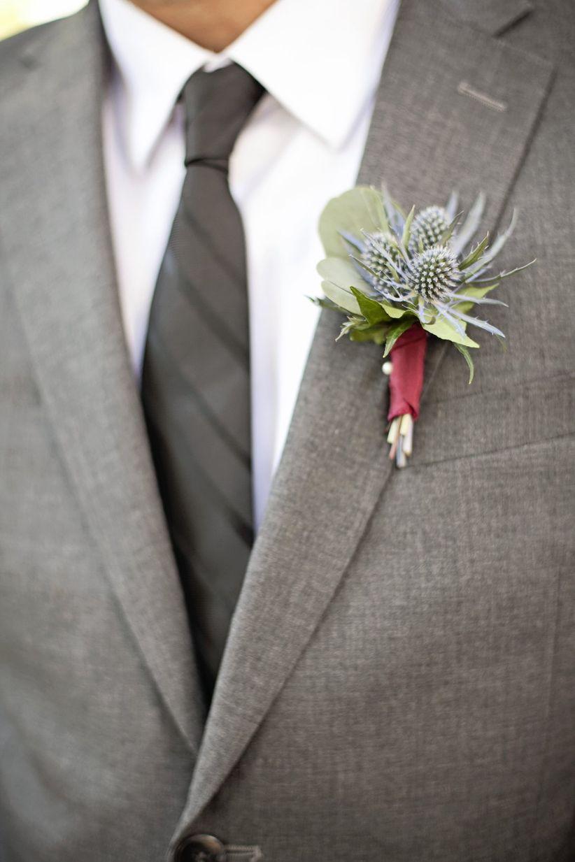 groom wearing classic gray suit