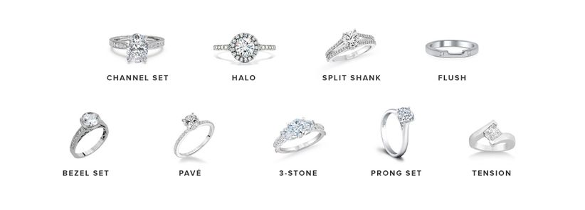 9 types of engagement ring settings to show off your rock for Types of body jewelry rings