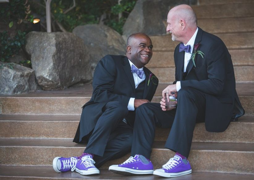 purple shoes gay wedding ideas