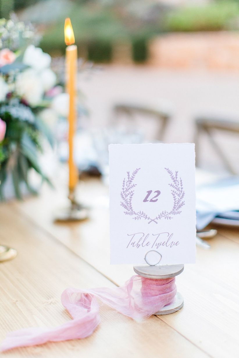 blush table number cards