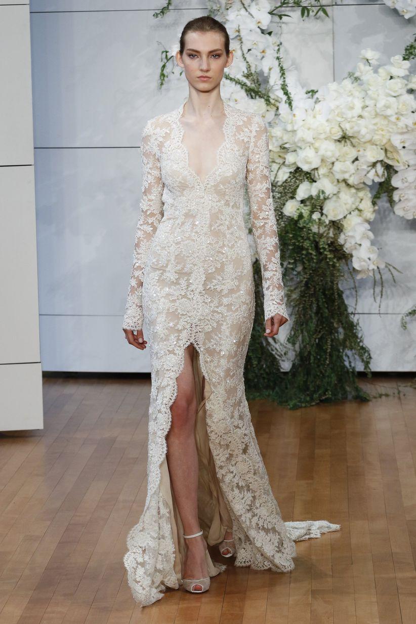 queen anne wedding dress neckline monique lhuillier
