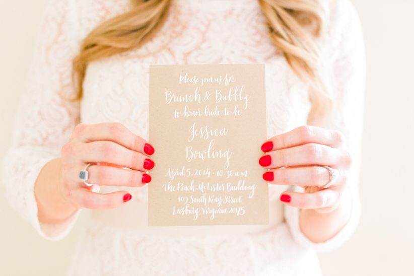 Bridal shower invitation bride with red nails calligraphy