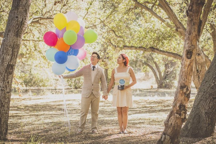 gay wedding ideas rainbow balloons