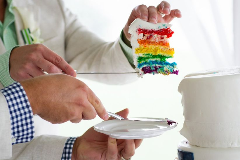 gay wedding ideas rainbow wedding cake