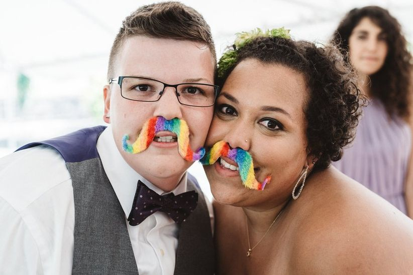 gay wedding ideas rainbow mustache