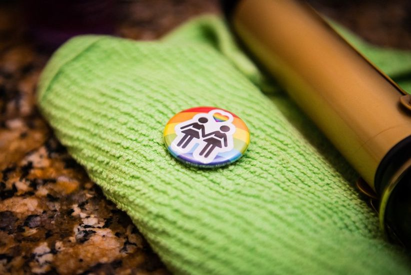 gay wedding ideas rainbow pin