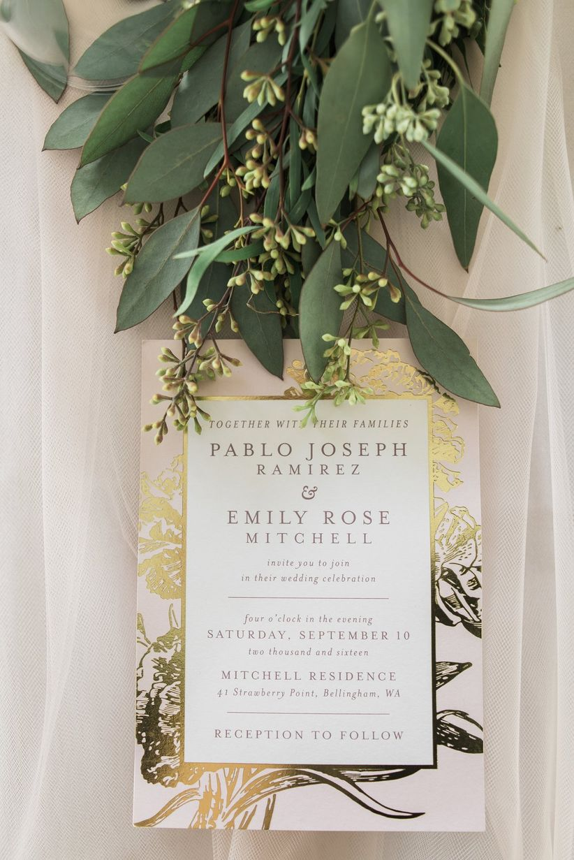 romantic blush vintage wedding invitations with gold foil and greenery