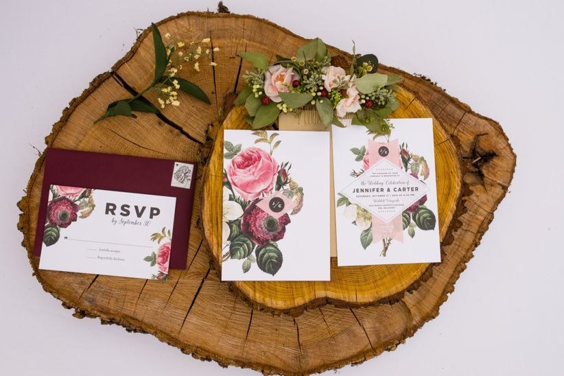 fall wedding invitations with flowers