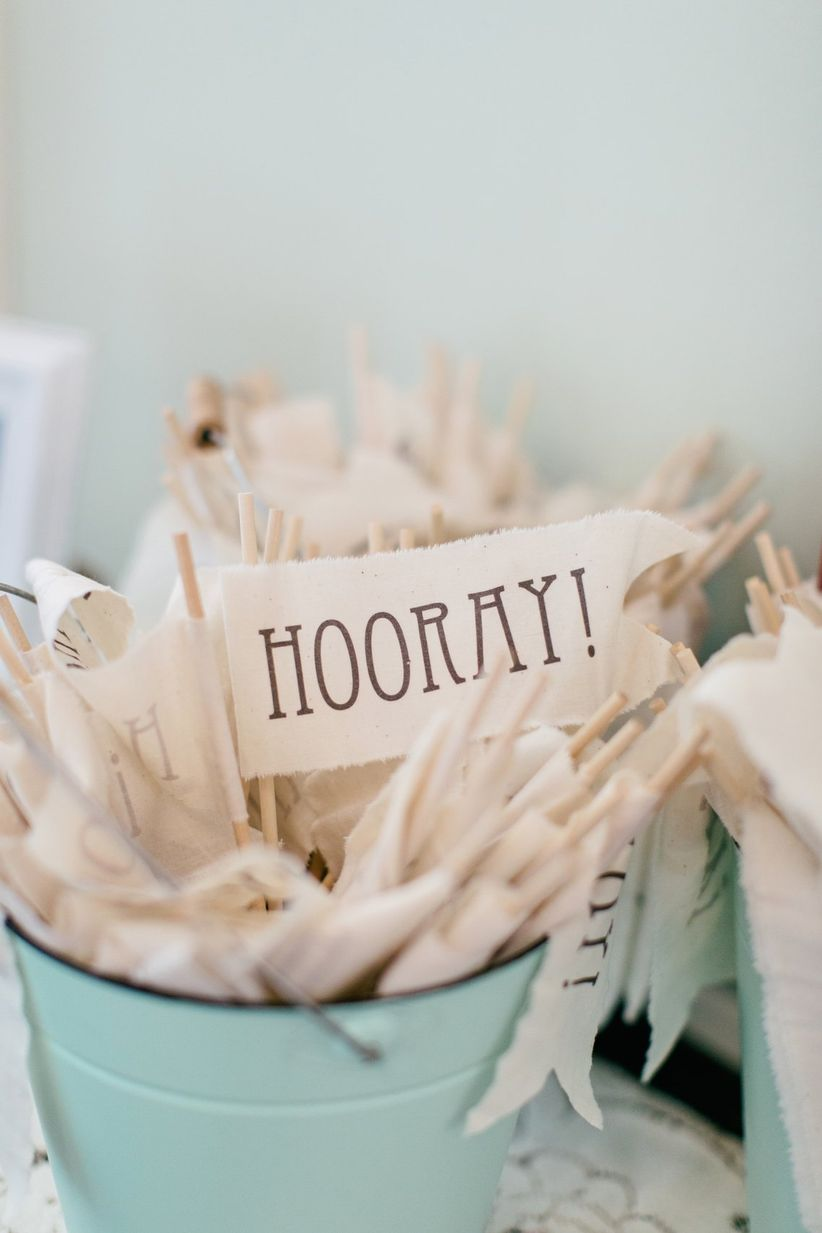 personalized reception flags with Hooray on them