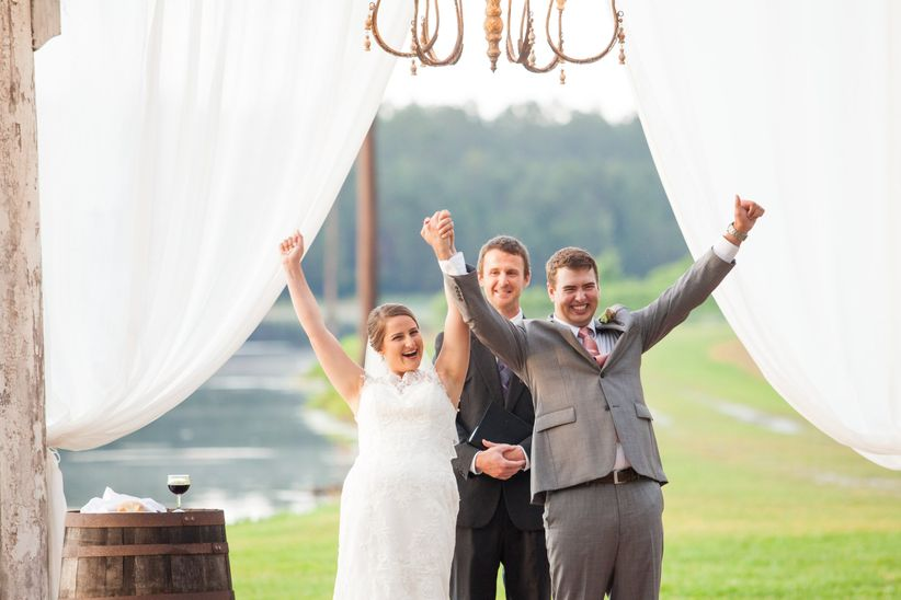 couple cheering recessional